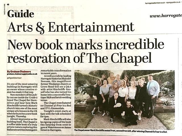 guidebook, book launch, news story, Grove Road, Methodist Chapel, Harrogate, Yorkshire, UK, The Chapel HG1,